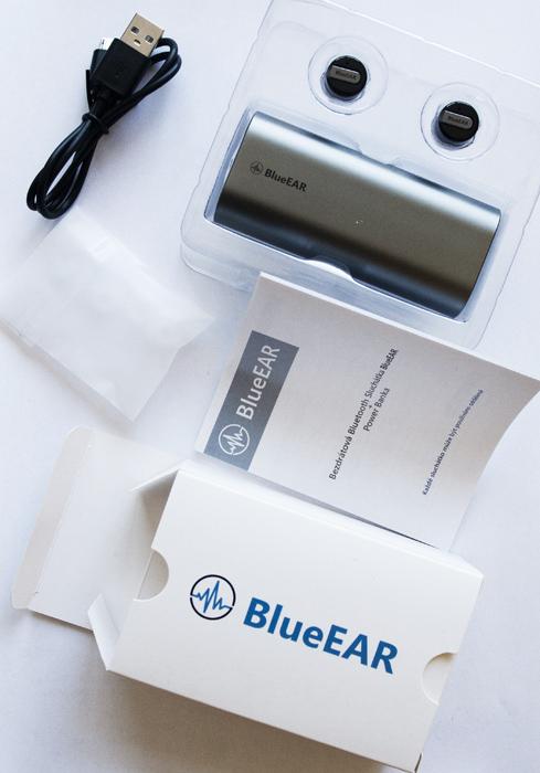 Bezdrátová bluetooth sluchátka s powerbankou, stříbrné-7