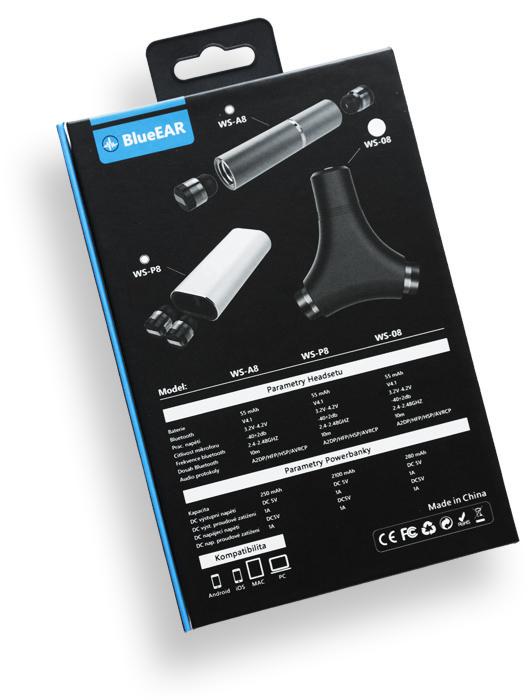 Bezdrátová bluetooth sluchátka s powerbankou, stříbrné-8