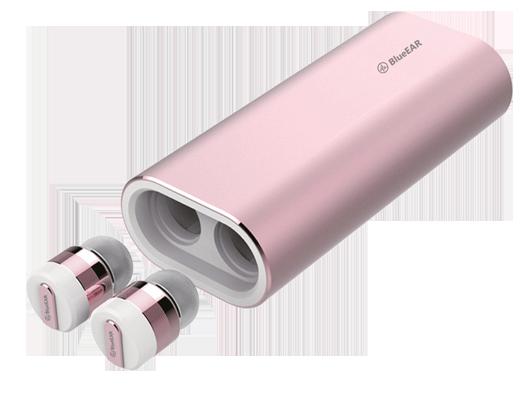 Bezdrátová bluetooth sluchátka s powerbankou, růžové